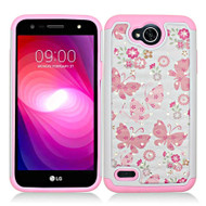 *SALE* TotalDefense Diamond Hybrid Case for LG X Power 2 / Fiesta - Butterfly Pink