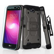 3-IN-1 Kinetic Hybrid Armor Case with Holster and Tempered Glass Screen Protector for LG X Power 2 / Fiesta - Grey