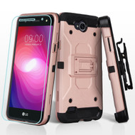 3-IN-1 Kinetic Hybrid Armor Case with Holster and Tempered Glass Screen Protector for LG X Power 2 / Fiesta - Rose Gold