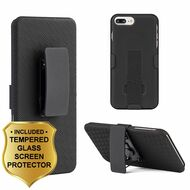 Kickstand Protective Case with Holster and Tempered Glass Screen Protector for iPhone 8 Plus / 7 Plus - Black