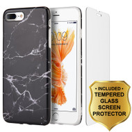 Marble TPU Case and Tempered Glass Screen Protector for iPhone 8 Plus / 7 Plus - Black
