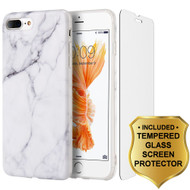 Marble TPU Case and Tempered Glass Screen Protector for iPhone 7 Plus - White
