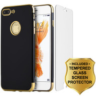 Jet Black Skyfall TPU Case with Electroplated Color Edge and Tempered Glass Screen Protector for iPhone 7 Plus - Gold