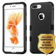Military Grade Certified TUFF Hybrid Armor Case and Tempered Glass Screen Protector for iPhone 8 Plus / 7 Plus - Black