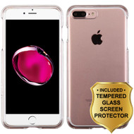 Snap-On Crystal Case and Tempered Glass Screen Protector for iPhone 8 Plus / 7 Plus - Clear