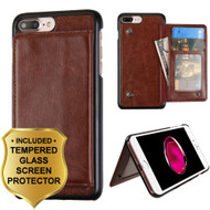 Pocket Wallet Case with Stand and Tempered Glass Screen Protector for iPhone 8 Plus / 7 Plus - Brown