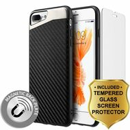 Carbon Metallic Luxury Fusion Case and Tempered Glass Screen Protector for iPhone 8 Plus / 7 Plus - Black