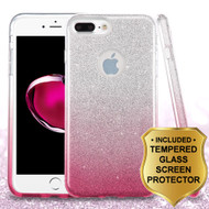Full Glitter Hybrid Protective Case and Tempered Glass Screen Protector for iPhone 7 Plus - Gradient Pink
