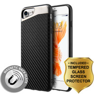 Carbon Metallic Luxury Fusion Case and Tempered Glass Screen Protector for iPhone 8 / 7 - Black