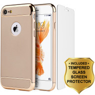 GripTech 3-Piece Chrome Frame Case and Tempered Glass Screen Protector for iPhone 7 - Gold
