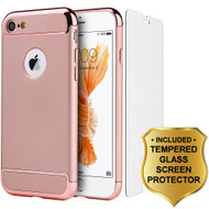 GripTech 3-Piece Chrome Frame Case and Tempered Glass Screen Protector for iPhone 8 / 7 - Rose Gold