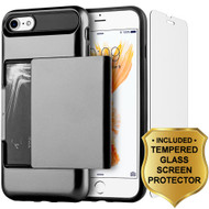 Sliding Hybrid Armor Credit Card Case and Tempered Glass Screen Protector for iPhone 7 - Black