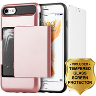 Sliding Hybrid Armor Credit Card Case and Tempered Glass Screen Protector for iPhone 7 - Rose Gold