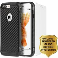 Tough Anti-Shock Hybrid Case and Tempered Glass Screen Protector for iPhone 8 Plus / 7 Plus - Carbon Fiber Black