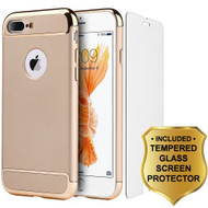 GripTech 3-Piece Chrome Frame Case and Tempered Glass Screen Protector for iPhone 7 Plus - Gold