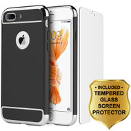 GripTech 3-Piece Chrome Frame Case and Tempered Glass Screen Protector for iPhone 7 Plus - Black