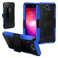 Advanced Armor Hybrid Kickstand Case with Holster for LG X Power 2 / Fiesta - Black Blue