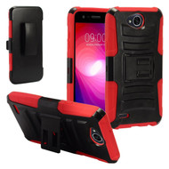 Advanced Armor Hybrid Kickstand Case with Holster for LG X Power 2 / Fiesta - Black Red