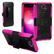 *SALE* Advanced Armor Hybrid Kickstand Case with Holster for LG X Power 2 / Fiesta - Black Hot Pink