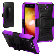 Advanced Armor Hybrid Kickstand Case with Holster for LG X Power 2 / Fiesta - Black Purple