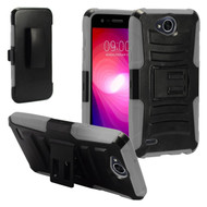 Advanced Armor Hybrid Kickstand Case with Holster for LG X Power 2 / Fiesta - Black Grey