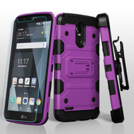 Military Grade Storm Tank Holster Case + Shatter-Proof Screen Protector for LG Stylo 3 / Stylo 3 Plus - Purple