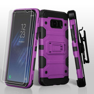 Military Grade Certified Storm Tank Hybrid Case with Holster and Screen Protector for Samsung Galaxy S8 Plus - Purple