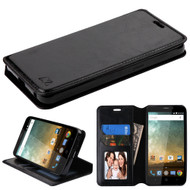 Book-Style Leather Folio Case for ZTE Prestige 2 / ZFive 2 - Black