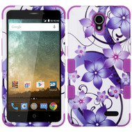 Military Grade Certified TUFF Image Hybrid Armor Case for ZTE Prestige 2 / ZFive 2 - Purple Hibiscus Flower Romance