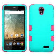 Military Grade Certified TUFF Hybrid Armor Case for ZTE Prestige 2 / ZFive 2 - Teal Green Hot Pink