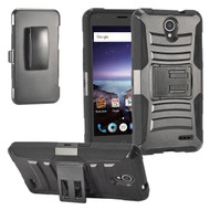 Advanced Armor Hybrid Kickstand Case with Holster for ZTE Prestige 2 / ZFive 2 - Black