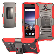 *SALE* Advanced Armor Hybrid Kickstand Case with Holster for ZTE Prestige 2 / ZFive 2 - Black Red