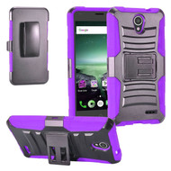 *SALE* Advanced Armor Hybrid Kickstand Case with Holster for ZTE Prestige 2 / ZFive 2 - Black Purple