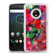 Quicksand Glitter Transparent Case for Motorola Moto G5 Plus - Hibiscus
