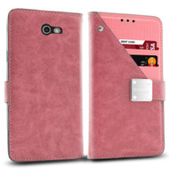 *SALE* Cosmopolitan Leather Canvas Wallet Case for Samsung Galaxy J7 (2017) / J7 V / J7 Perx - Pink