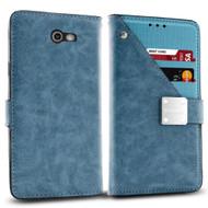 *SALE* Cosmopolitan Leather Canvas Wallet Case for Samsung Galaxy J7 (2017) / J7 V / J7 Perx - Blue