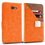 Cosmopolitan Leather Canvas Wallet Case for Samsung Galaxy J7 (2017) / J7 V / J7 Perx - Orange