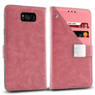 *Sale* Cosmopolitan Leather Canvas Wallet Case for Samsung Galaxy S8 - Pink