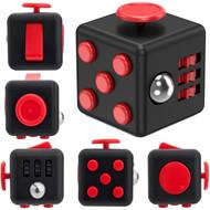 Fidget Cube Vinyl Desk Toy - Black Red