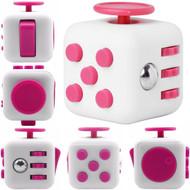 Fidget Cube Vinyl Desk Toy - White Hot Pink