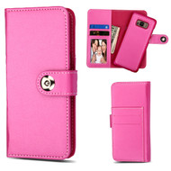 2-IN-1 Premium Leather Wallet with Removable Magnetic Case for Samsung Galaxy S8 - Hot Pink