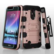 Military Grade Storm Tank Case + Holster + Screen Protector for LG K20 Plus / K20 V / K10 (2017) / Harmony - Rose Gold
