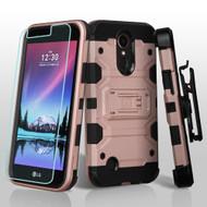 Military Grade Storm Tank Case + Holster + Screen Protector for LG K20 Plus / K20 V / K10 (2017) / Harmony - Rose Gold