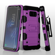 Military Grade Certified Storm Tank Hybrid Case with Holster and Screen Protector for Samsung Galaxy S8 - Purple
