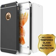 GripTech 3-Piece Chrome Frame Case and Tempered Glass Screen Protector for iPhone 6 / 6S - Black