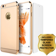 GripTech 3-Piece Chrome Frame Case and Tempered Glass Screen Protector for iPhone 6 / 6S - Gold