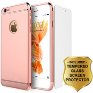 GripTech 3-Piece Chrome Frame Case and Tempered Glass Screen Protector for iPhone 6 / 6S - Rose Gold