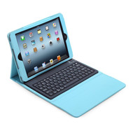 Bluetooth Wireless Keyboard Leather Folio Case for iPad (2017) / iPad Air - Baby Blue
