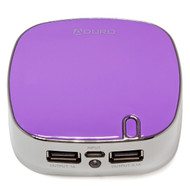 POWER UP Portable 5200mAh Power Bank Battery with 2 USB Ports and Flashlight - Purple