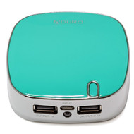 POWER UP Portable 5200mAh Power Bank Battery with 2 USB Ports and Flashlight - Teal